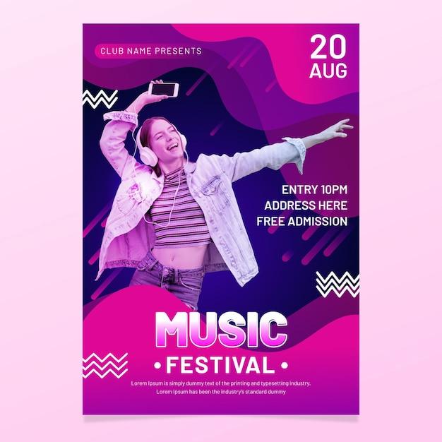 Muziek evenement poster Gratis Vector
