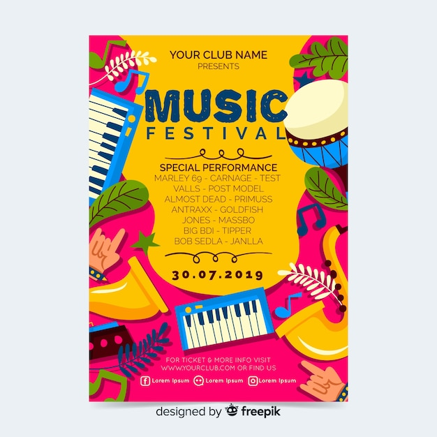 Muziek festival partij poster of sjabloon folder Gratis Vector