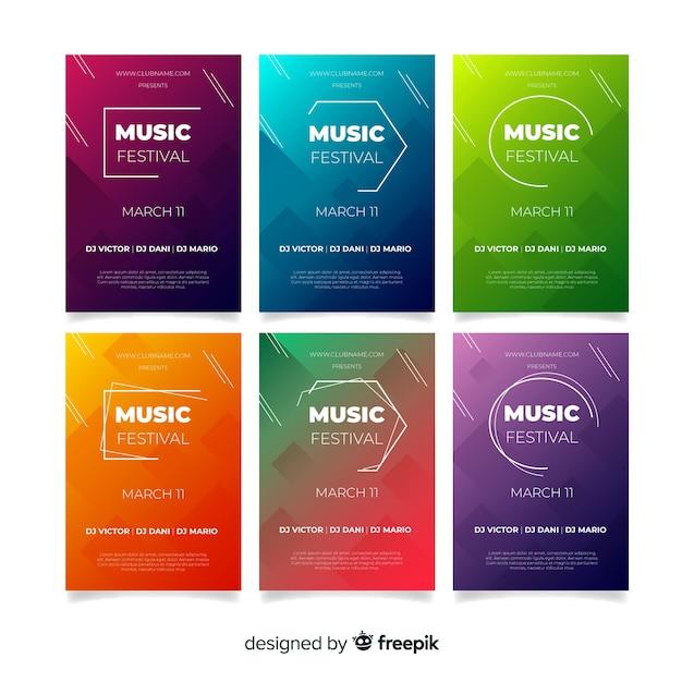 Muziek festival poster collectie Gratis Vector