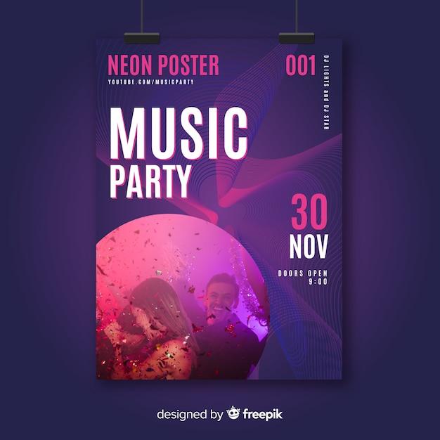 Muziek festival poster sjabloon met foto Gratis Vector