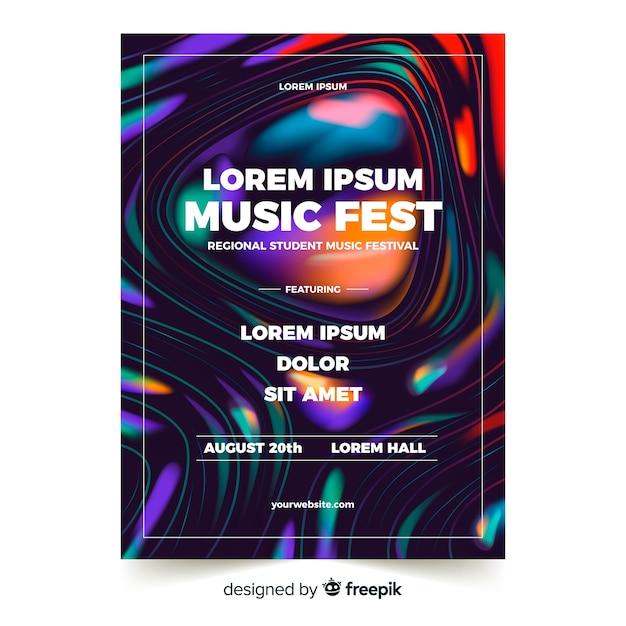 Muziek festival poster sjabloon met vloeibaar effect Gratis Vector