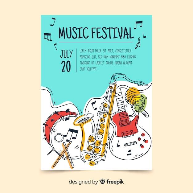 Muziek festival poster sjabloon Gratis Vector