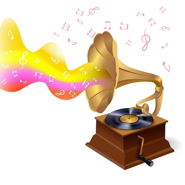 Muziek grammofoon illustratie Gratis Vector