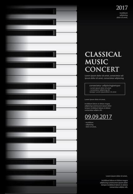 Muziek grand piano poster achtergrond sjabloon Premium Vector