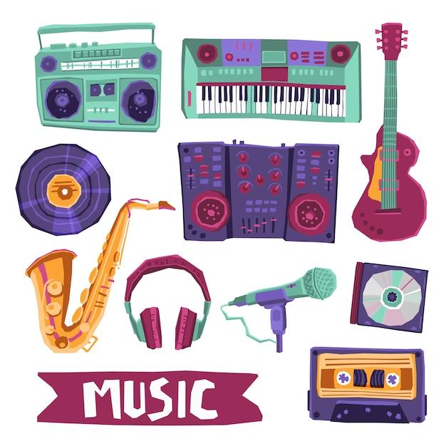 Muziek icon set Gratis Vector