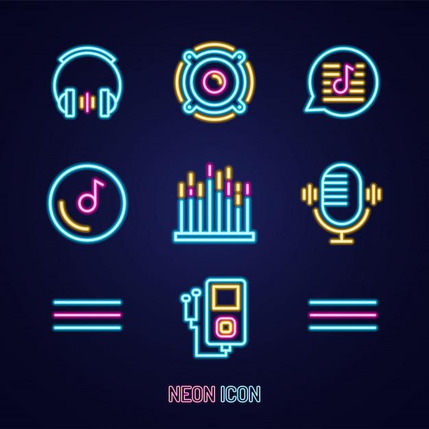 Muziek ingesteld eenvoudige lichtgevende neon overzicht kleurrijke pictogram op blauw Premium Vector