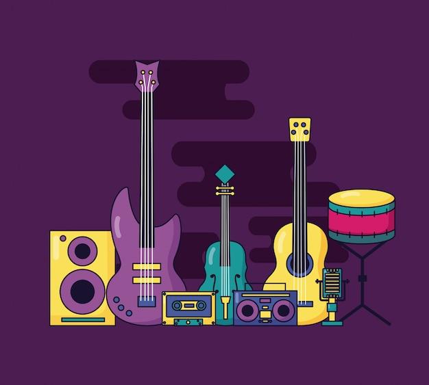 Muziek kleurrijke illustratie Gratis Vector