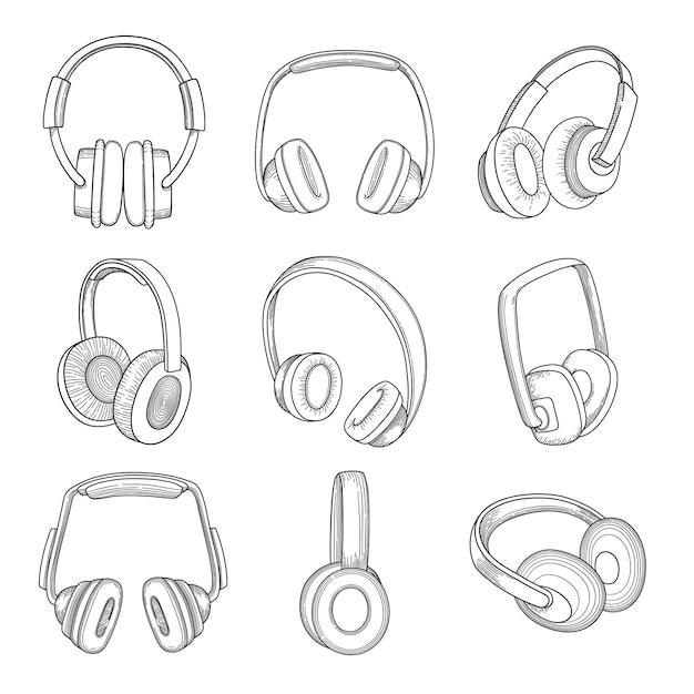 Muziek koptelefoon. elektronische technologie verschillende gadgets schetsen set. Premium Vector