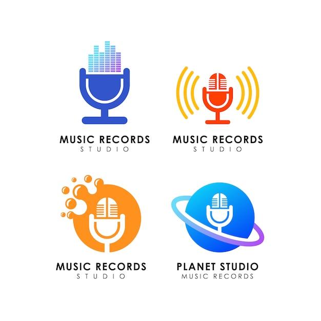 Muziek neemt studio logo ontwerp op Premium Vector