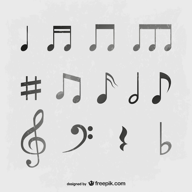Muziek noten vector set Gratis Vector