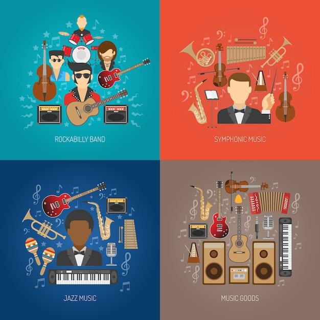 Muziek ontwerp concept set Gratis Vector