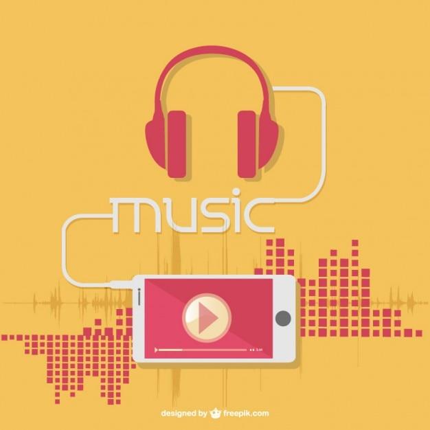 Muziek oortelefoons Gratis Vector