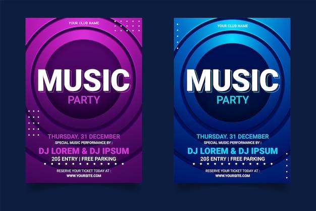 Muziek partij poster sjabloonverzameling Premium Vector