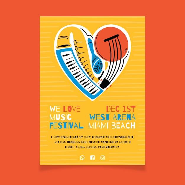 Muziek poster met hart gemaakt van instrumenten Gratis Vector