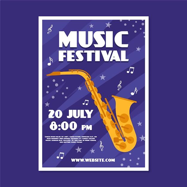 Muziek poster met saxofoon Gratis Vector