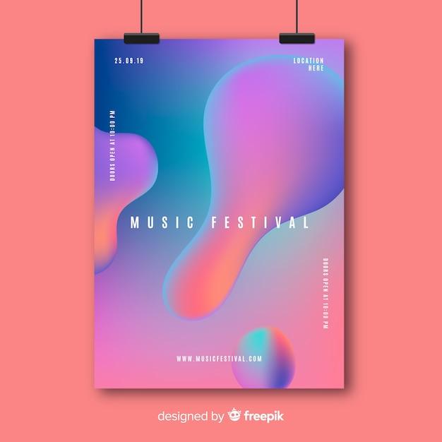 Muziek poster sjabloon met vloeibaar effect Gratis Vector