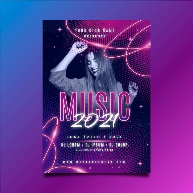 Muziek poster sjabloon met vrouw dansen Gratis Vector