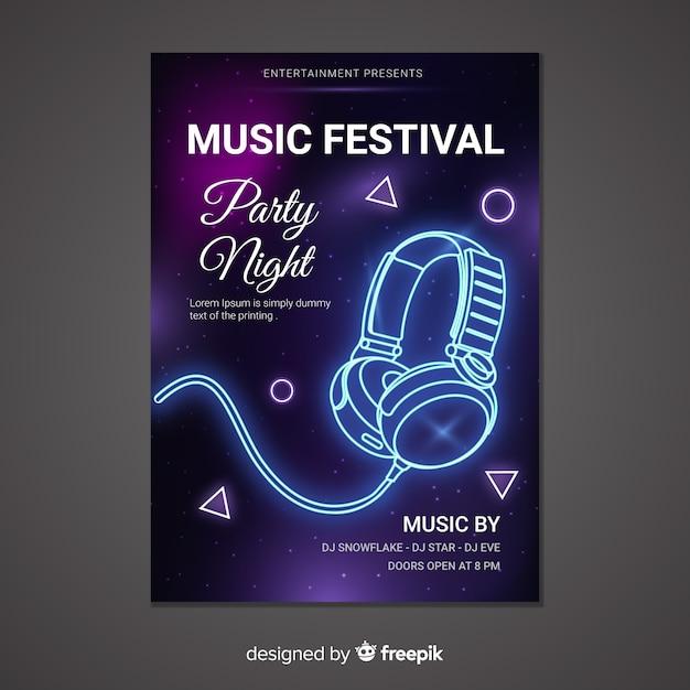 Muziek poster sjabloon neon stijl Gratis Vector