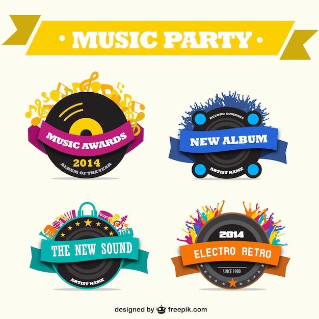 Muziek promotionele graphics gratis set Gratis Vector