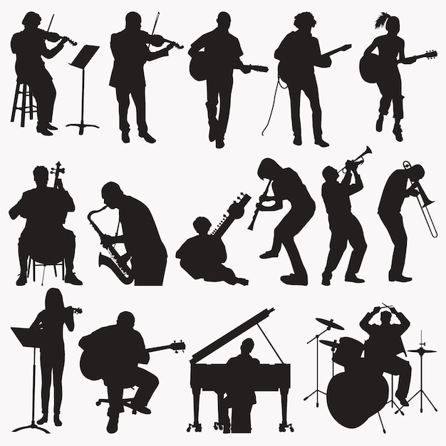 Muziek silhouetten spelen Premium Vector