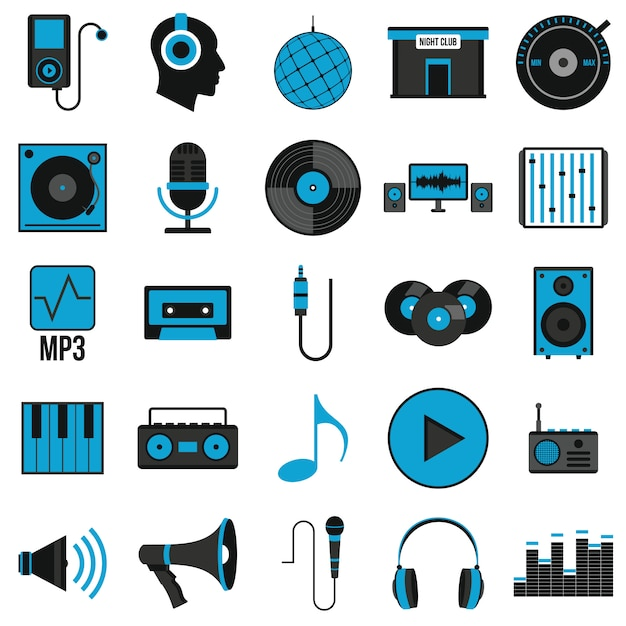 Muziek stel pictogrammen in vlakke stijl Premium Vector