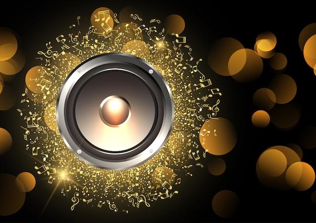 Muziekachtergrond met spreker en muzieknota's Gratis Vector