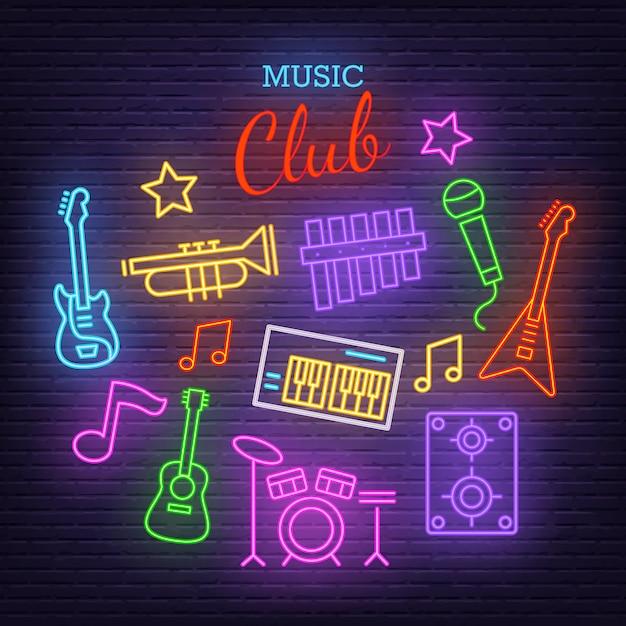 Muziekband neon pictogrammen Premium Vector