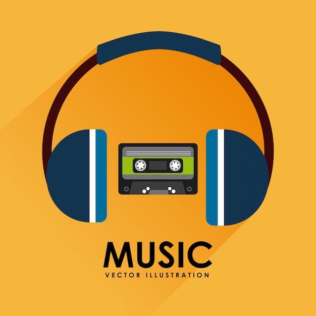 Muziekcassetteband en hoofdtelefoon grafisch ontwerp Gratis Vector