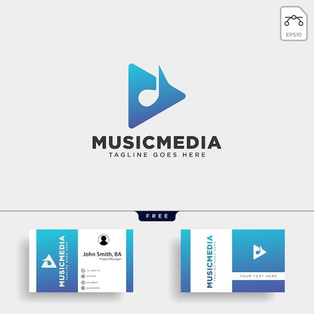 Muziekclip cinema media entertainment eenvoudig logo Premium Vector