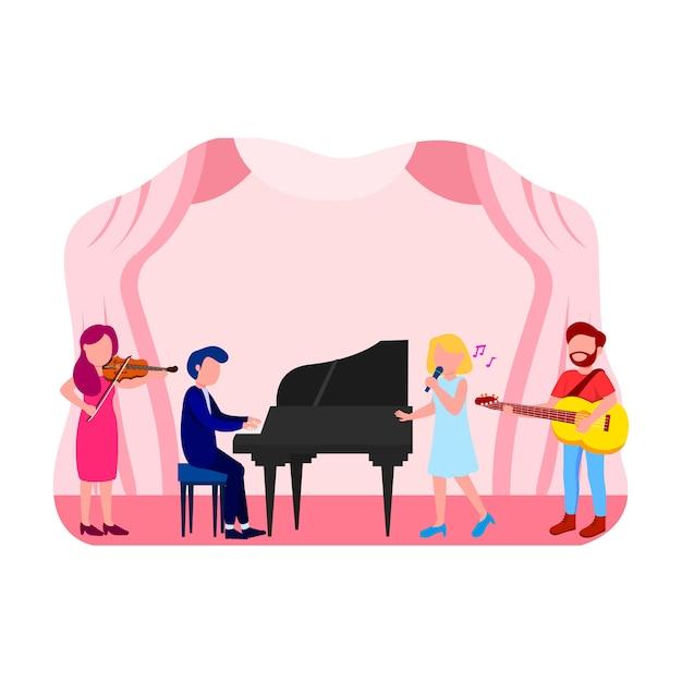 Muziekconcert illustratie platte vector Premium Vector