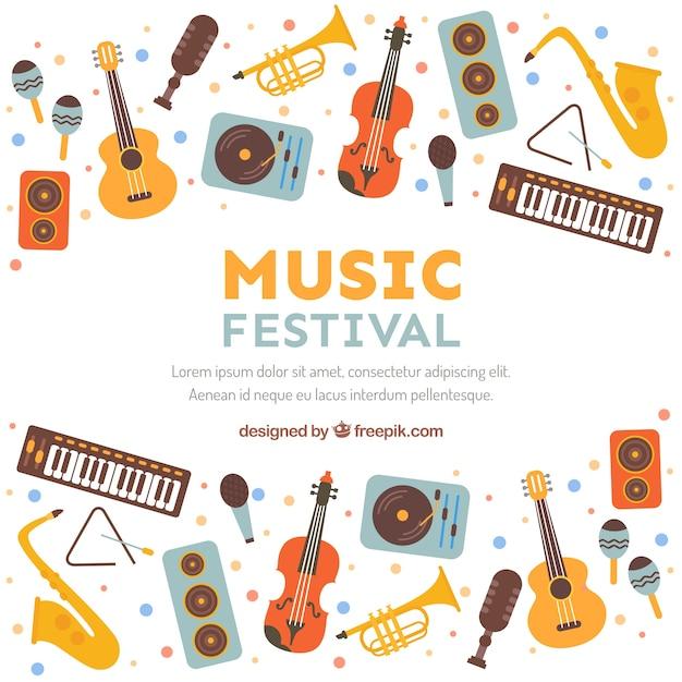 Muziekfestival achtergrond in vlakke stijl Gratis Vector