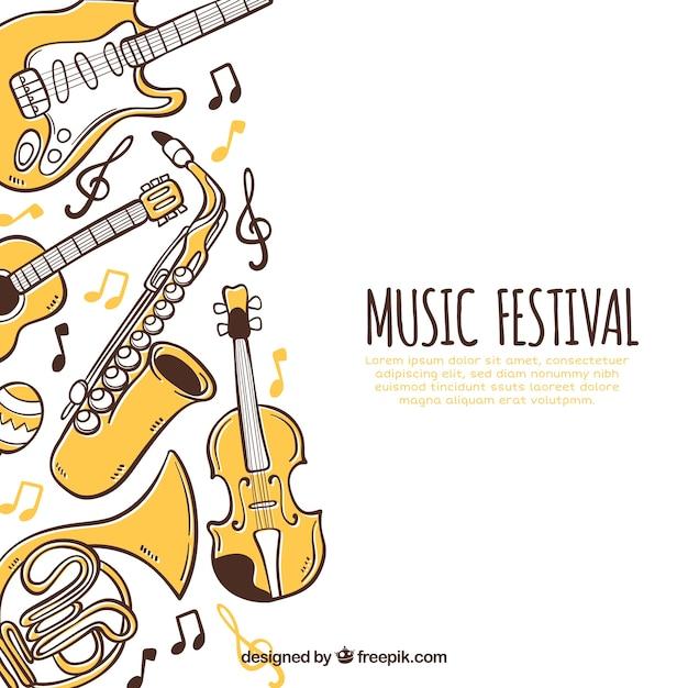 Muziekfestival achtergrond met instrumenten in hand getrokken stijl Gratis Vector