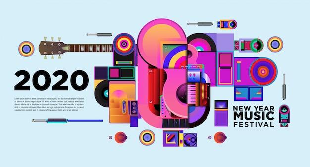 Muziekfestival banner voor 2020 nieuwjaarsfeest en evenement Premium Vector