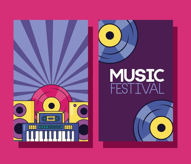 Muziekfestival banner Gratis Vector