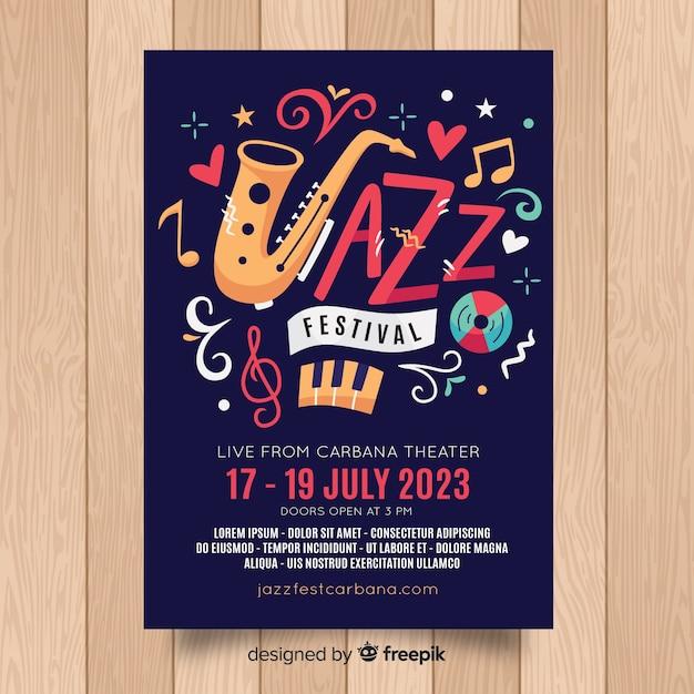 Muziekfestival-flyer Gratis Vector