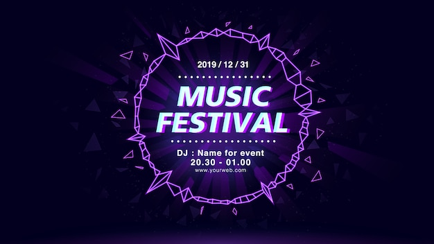Muziekfestival horizontale poster sjabloon. elektronische dans, audiovisuele weergave. Premium Vector