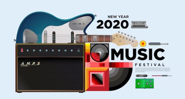 Muziekfestival horizontale poster sjabloonontwerp Premium Vector