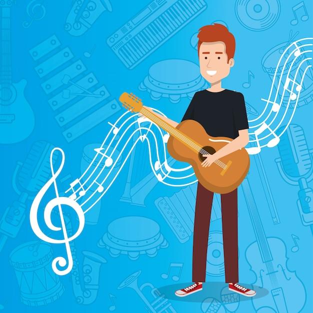 Muziekfestival leven met man akoestische gitaar spelen Gratis Vector