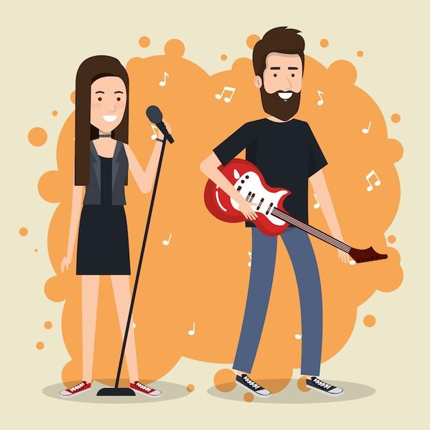 Muziekfestival leven met paar elektrische gitaar spelen en zingen Gratis Vector