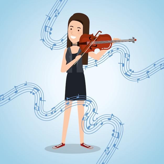 Muziekfestival leven met vrouw viool spelen Gratis Vector