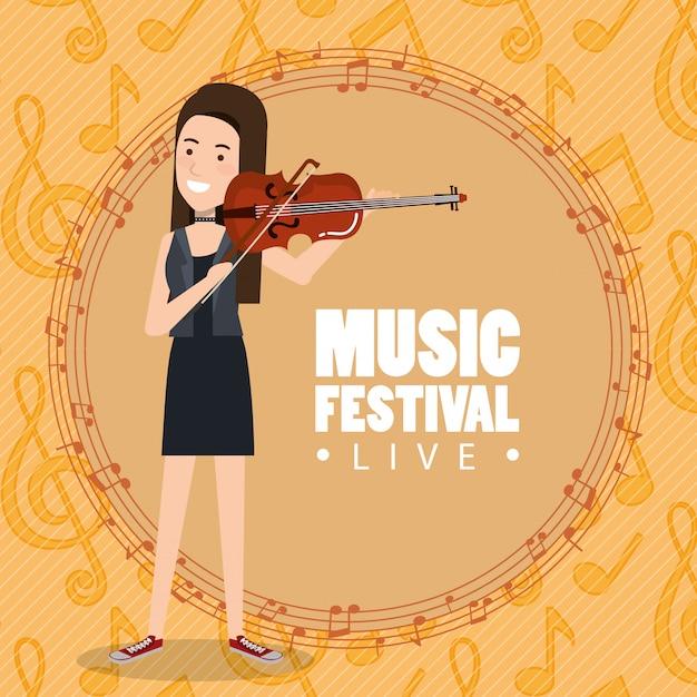 Muziekfestival live met vrouw viool spelen Gratis Vector