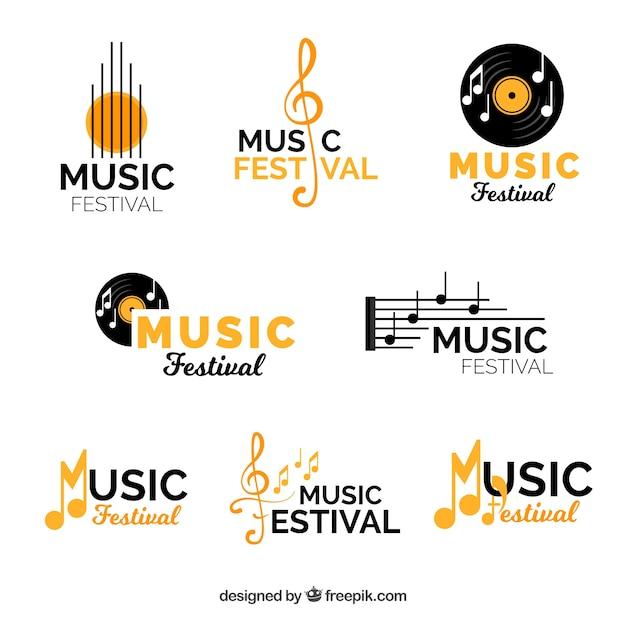 Muziekfestival logo-collectie met platte ontwerp Premium Vector