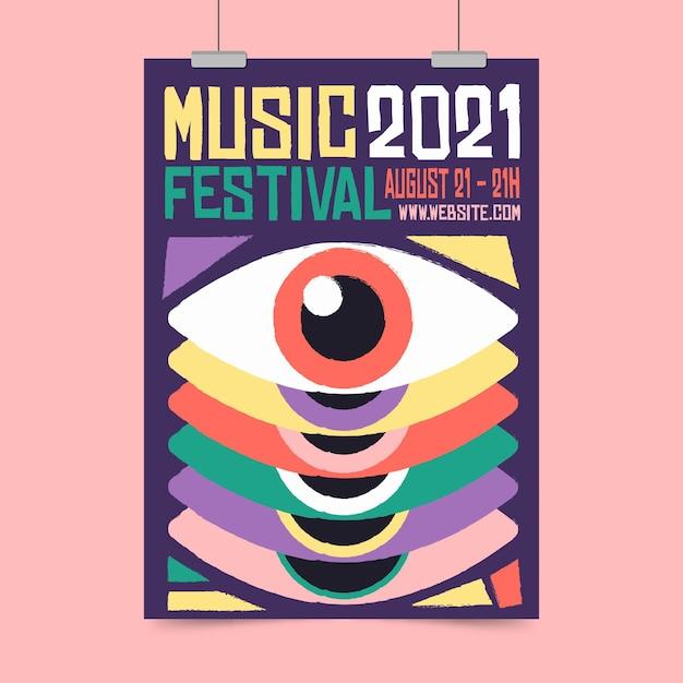 Muziekfestival poster 2021 Gratis Vector