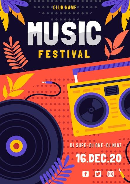 Muziekfestival poster met dj Gratis Vector