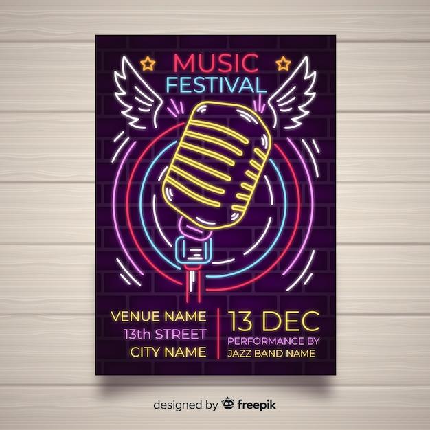 Muziekfestival poster sjabloon neonlichten stijl Gratis Vector