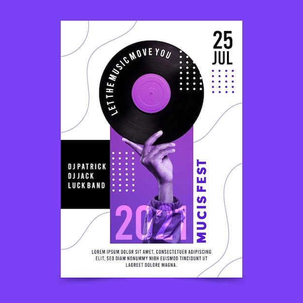 Muziekfestival poster sjabloon Gratis Vector