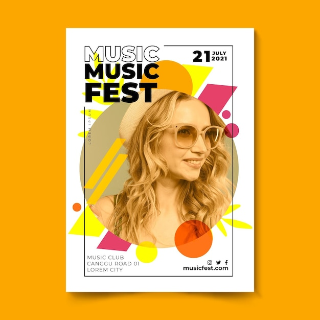Muziekfestival poster vrouw met blond haar Gratis Vector