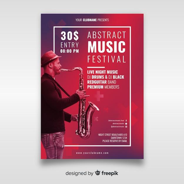 Muziekfestivalaffiche met foto Gratis Vector