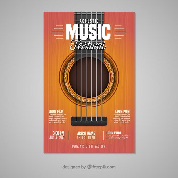 Muziekfestivalaffiche met gitaar Gratis Vector
