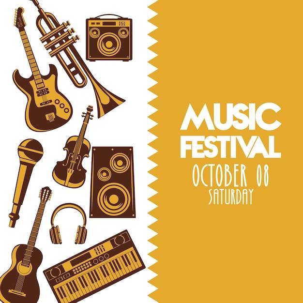 Muziekfestivalaffiche met instrumenten en belettering. Premium Vector